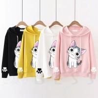 Sweater Hoodie Kucing Kaos Wanita Roundhand Cewek Imut Big Eyes Cat 3 - Kuning