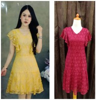Dress Pesta Mewah Brukat Lengan Pendek / Dress Pesta Bridal Import BKK
