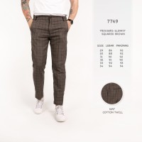 Celana Panjang Pria / Celana Kotak Kotak Coklat