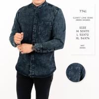 Kemeja Pria / Kemeja Jeans Denim Pria Lengan Panjang