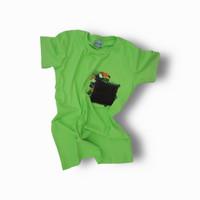 Kaos, T-shirt, Atasan, Slim Fit, Hijau Pastel Polos, Katun Premium - S
