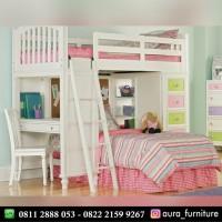 tempat tidur tingkat anak perempuan,dipan tingkat laci meja belajar