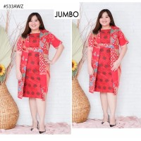 Dress Pesta Jumbo Batik Katun Bigsize Kombinasi Brokat Mewah vol55d