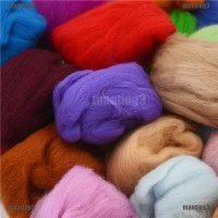 New Set 15 Warna Benang Wol Super Lembut untuk Jarum Felting DIY