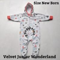 Piyama Bayi -) Velvet Junior sleepsuit Topi tutup kaki. size New Born,