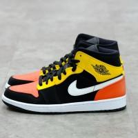 Nike Air Jordan 1 Mid Black Amarillo Orange 100% Authentic