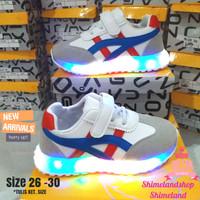 Sepatu Anak Lampu Led Asics Putih Biru Sneakers