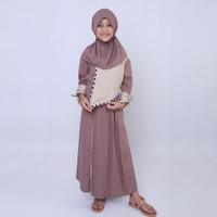 Baju Gamis Anak Perempuan Busana Muslim Murah Warna Coklat Ori CBV 047