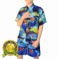 kemeja celana motif hawai warna birumuda XL terlaris