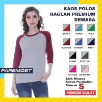 Faremost Kaos Polos Wanita Raglan Lengan 3/4 ABU MISTY Ukuran S