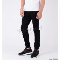 Celana Jogger Pants Bahan Jeans Model Ripped Joger Cowok Robek Hitam