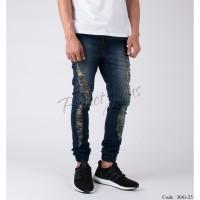 Celana Jogger Pants Bahan Jeans Model Ripped Joger Cowok Robek JOG25