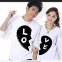 Kaos Couple / Baju Pasangan / Fashion Couple LOVE Lengan Panjang Putih