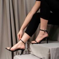 SURIN Shoes LEAH Sepatu High Heels 7cm Kulit Black & Red