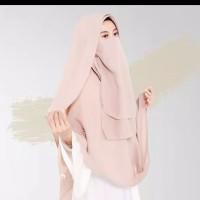 Hijab Kerudung Jilbab instan syar'i jumbo gratis cadar 2 layer