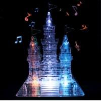 105Pcs Puzzle Kristal Transparan 3D Model Istana dengan Lampu+Musik