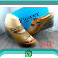 Cod(bayar ditempat) sandal kulit asli wanita flower 1705