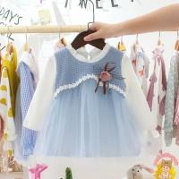 Perfectforyou Dress O-Neck Lengan Panjang Motif Bunga untuk Bayi /
