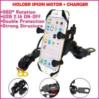 X-Grip Holder Spion Motor Plus Charger HP USB Bracket 4 Cakar GPS H