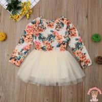 Dress Princess Lengan Panjang Bahan Mesh Motif Bunga untuk Musim