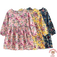 Dress Princess Lengan Panjang Motif Bunga untuk Musim Semi / Panas