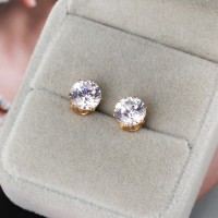 Anting Tusuk Bentuk Bulat Lapis Emas / Putih 18K untuk Wanita