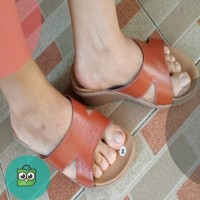 Sandal wedges wanita kulit asli handmade