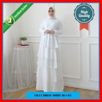 Gamis Ruffle Putih Polos Premium Bahan Chiffon Size L M1145