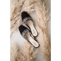 MARNOVA - COLETTE Sepatu Wanita Mules Hak 5cm Bahan Tweed - Hitam