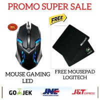 MOUSE GAMING LED / MOUSE GAMING RGB WITH CABLE FREE MOUSEPAD LOGITECH - Hitam
