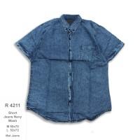 R4211 kemeja jeans pria grosir