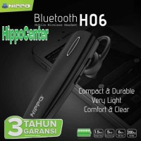 HIPPO ORI HANDSFREE BLUETOOTH H 06 / GARANSI 1 TAHUN - Hitam