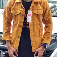 Jaket Jeans Denim Warna Pria Wanita Hijau Marun Kunyit Kuning - Merah, M