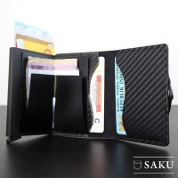 DOMPET PRIA CARBON ASLI SAKU SMART WALLET CARD HOLDER RFID COMPACT BLK