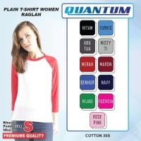 Quantum Kaos Polos Wanita Raglan 3/4Body Putih kombinasi Ukuran S