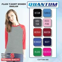 Quantum Kaos Polos Wanita Raglan 3/4 Misty-Tangan kombinasi Ukuran S