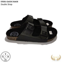 Sandal Pria & Wanita Casual Double Strap / Tali 2 Classic Black Stexel