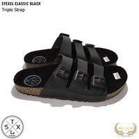 Sandal Pria & Wanita Casual Triple Strap / Tali 3 Classic Black Stexel