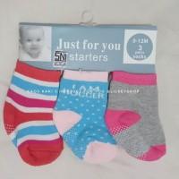kaos kaki bayi 0-12 bulan ada anti slip 3 in 1 motif J
