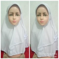 Jilbab Anak Sekolah Kaos Super Kepang Putih Polos