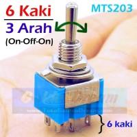 Saklar Toggle 6 Kaki 3 Arah MTS 203 Sakelar Switch Tuas ON - OFF - ON