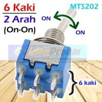 Saklar Toggle 6 Kaki 2 Arah MTS 202 Sakelar DPDT Switch Tuas ON - ON