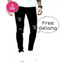 Knee Black Ripped Jeans-Celana Jeans sobek Pria