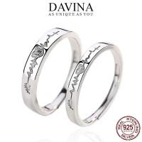 Cincin Couple DAVINA Perak 925 Sterling Silver S925 Asli Tunangan - SEPASANG