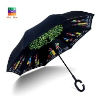 Payung Terbalik Motif Travel Girl Gagang C - Reverse Umbrella