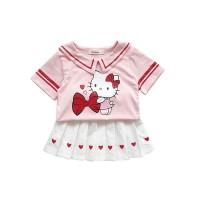 C851-pink Dress Anak Perempuan Hello Kitty