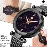 Jam Tangan wanita WWOOR Original 8870 Black Kaca starry Anti Air Sta