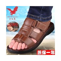 Big Red Eagle Genuine-Men s Sandals head-layer cowhide beach shoes cas