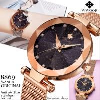 Jam Tangan wanita original WWOOR 8869 Tembaga Kaca starry Anti Air S