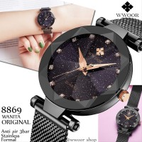 Jam Tangan wanita original WWOOR 8869 Hitam Kaca starry Anti Air Sta
